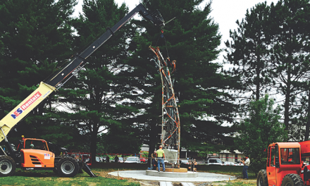 Standing tall: A piece of the World Trade Center is erected on the F-MCC campus