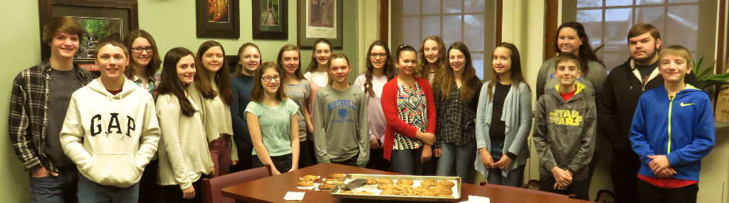 Northville Superintendent Leslie Ford recently made her quarterly presentation of freshly-baked chocolate chip cookies to the middle and high school students attaining principal's list for the second quarter. All the students had a 90 or higher in all of their classes. From left, Killian Evans, Gavin Clute, Hannah Lent, Grace Forsey, Brytney Moore, Alyssa Quillan, Madeline Downing, Jenna Forsey, Brianna Bace, Morgan Mackey, Morgan Fordyce, Nicole Quillan, Haley Monacchio, Bella Cox, Karah Cartwright, Catherine Millington, Caleb Clapper, Michael Darling and John Bace. Not pictured: Kerrigan Groff and Alyssa Kemp.