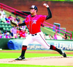 File photo Matt Gage pitches for the Richmond Flying Squirrels during a July 2016 game in Richmond, Va. Gage, a 2011 Broadalbin-Perth High School graduate and former Amsterdam Mohawks pitcher, made his debut Sunday for the Sacramento River Cats, the San Francisco Giants; Triple-A affiliate, after being promoted from Double-A last week.