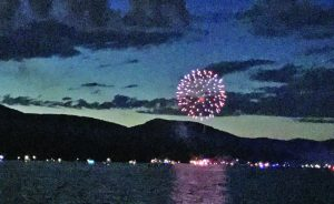 Brian Krohn/Express staff Area residents gathered around the Great Sacandaga Lake Saturday evening for a display of fireworks hosted by Lanzi's on the Lake Restaurant and Marina in Mayfield.